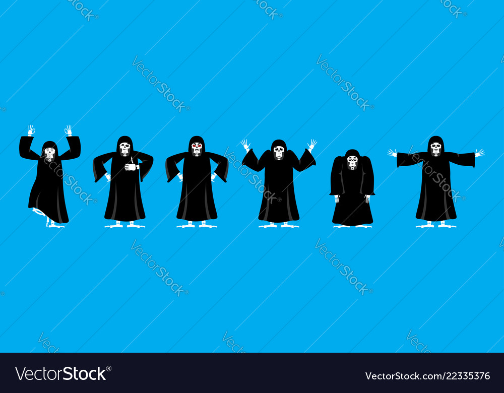 Grim reaper set poses and motion death happy and