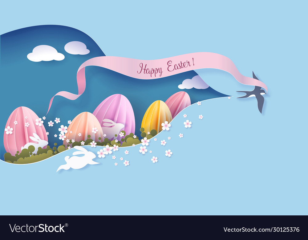 Happy easter card paper cut art background