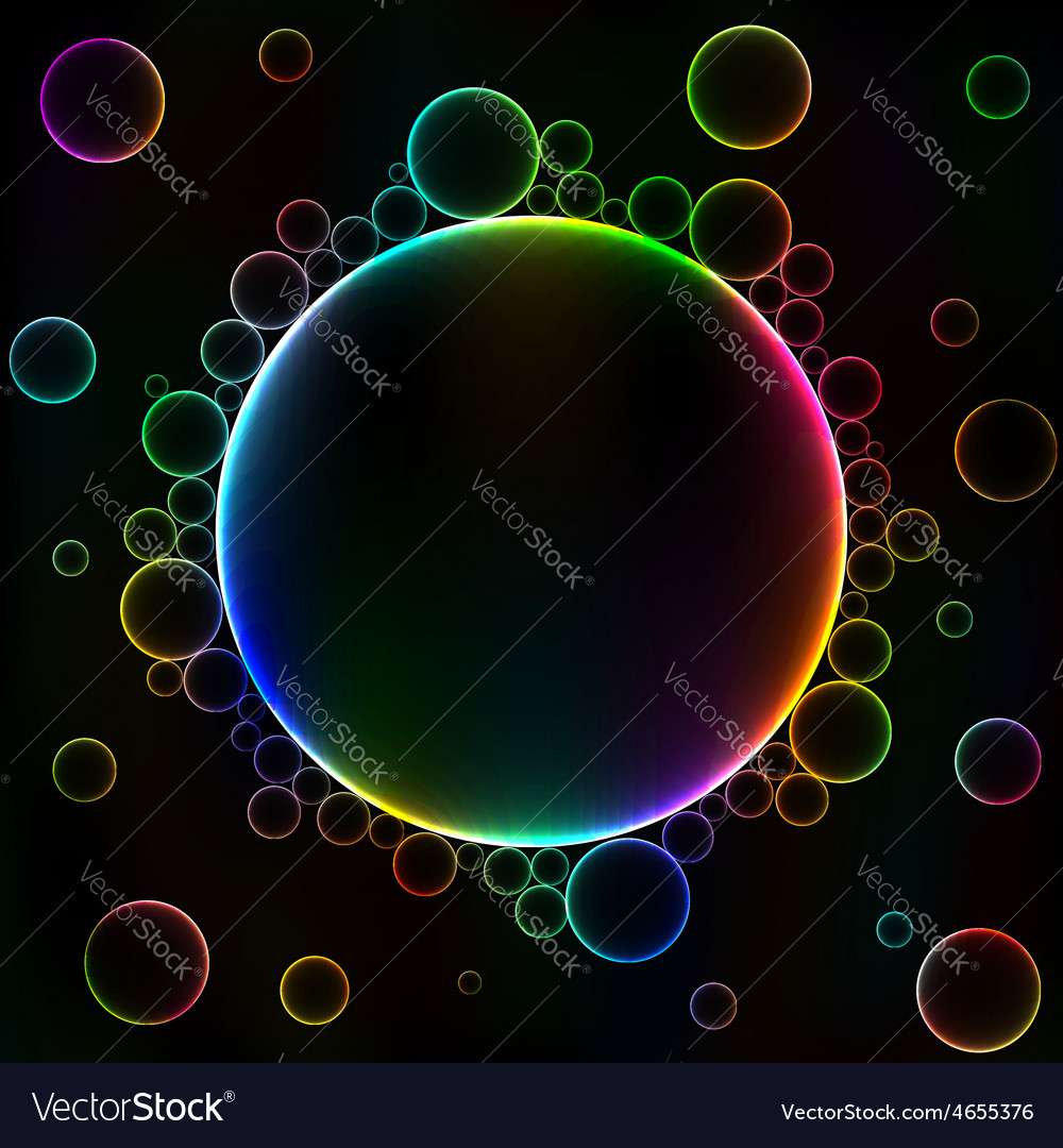 Many colorful bubbles unusual dark abstract