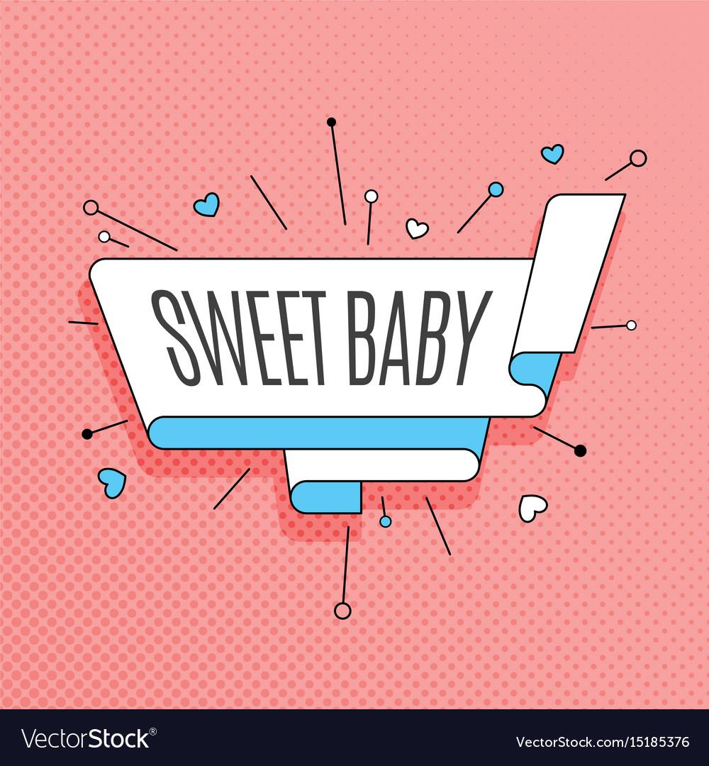 Sweet baby retro design element in pop art style