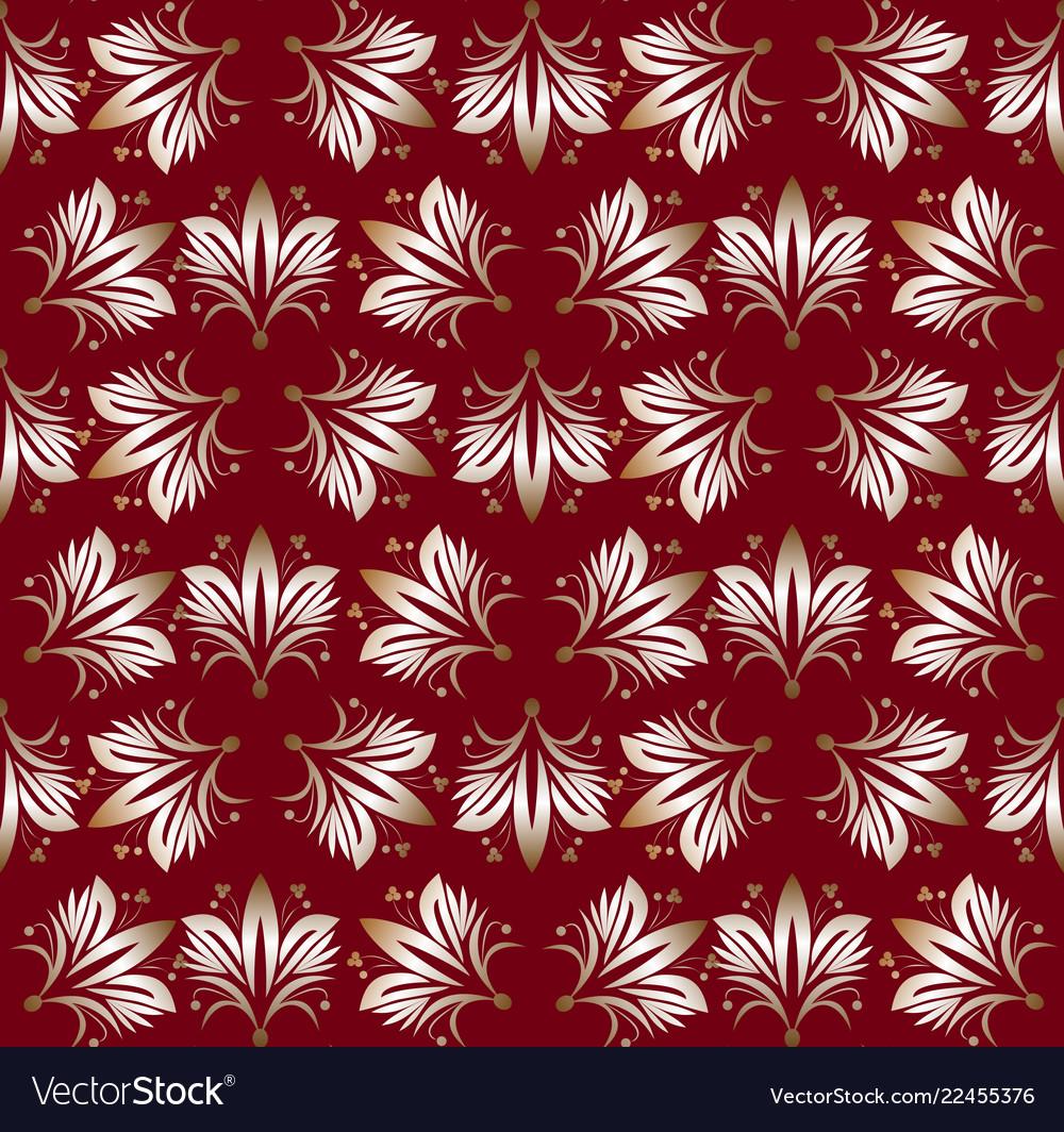 Vintage seamless patterns on dark red background