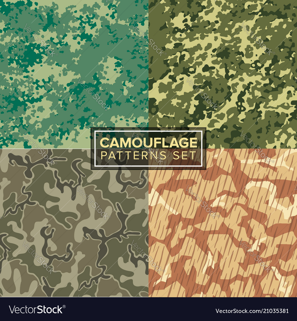 Camouflage pattern set four different textures