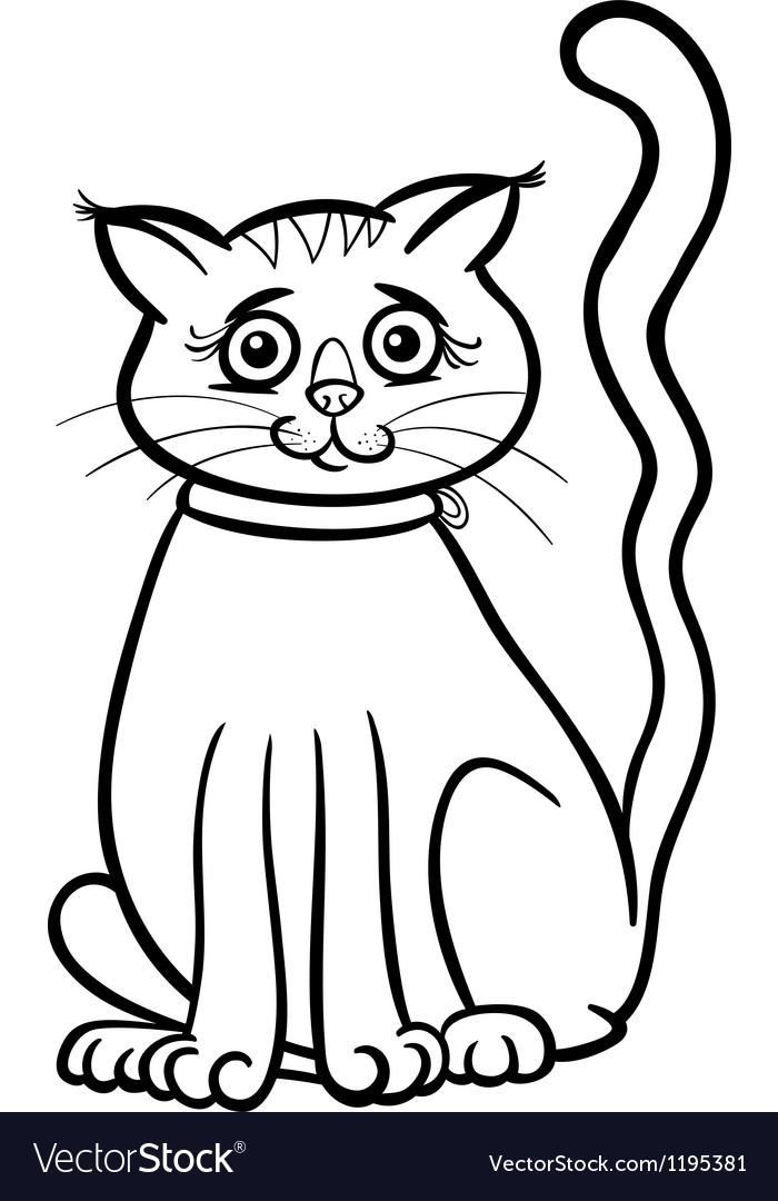 Female cat cartoon for coloring book