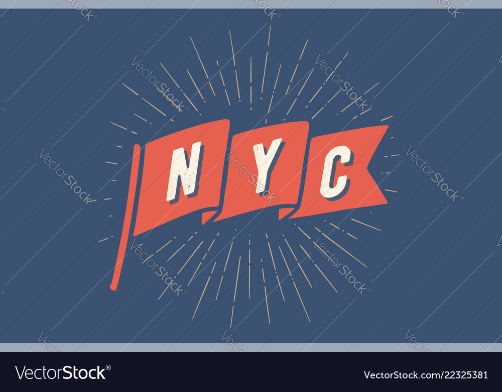 Flag ny old school flag banner with text new york