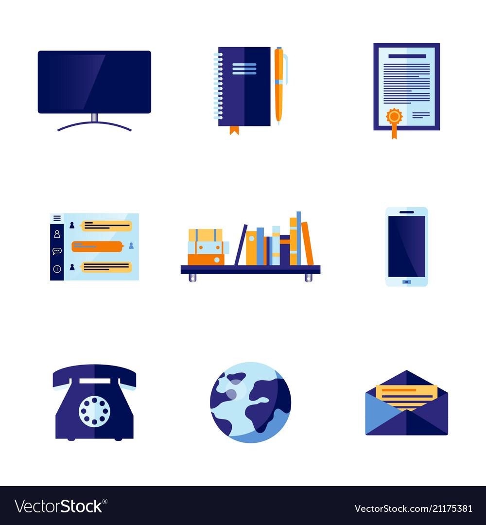 Flat office and communication icon set