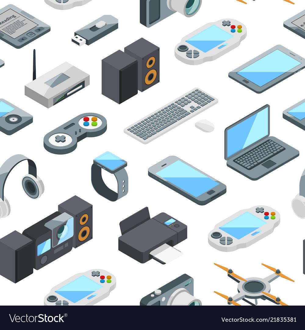 Isometric gadgets icons pattern or