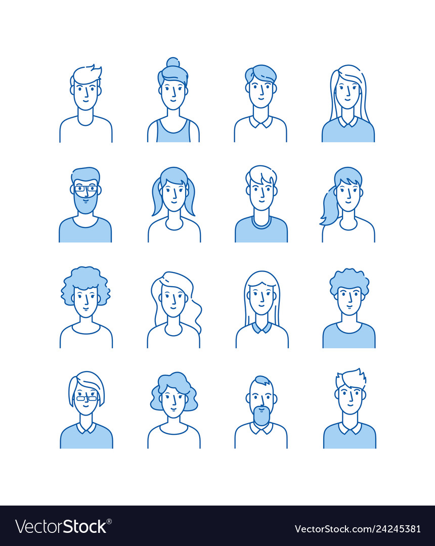Outline avatars smiling young people icons user