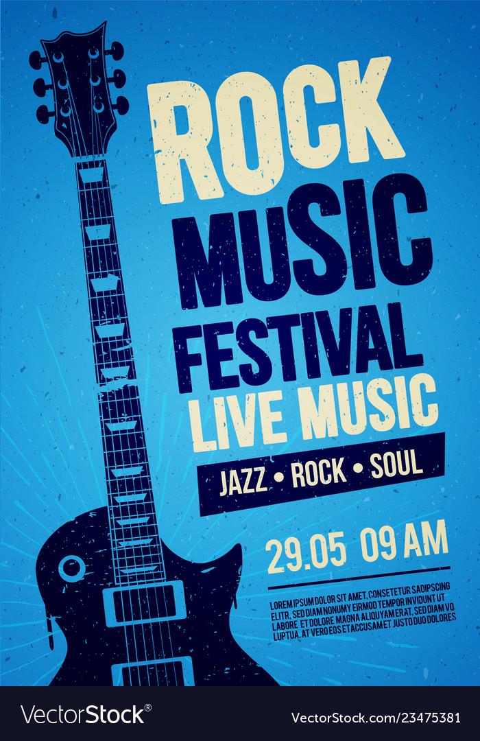 Rock festival concert poster design with guitar