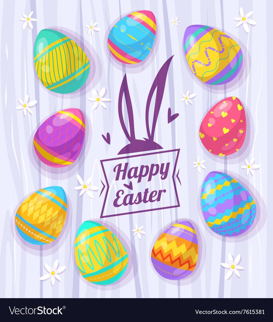 Set of Easter eggs cute