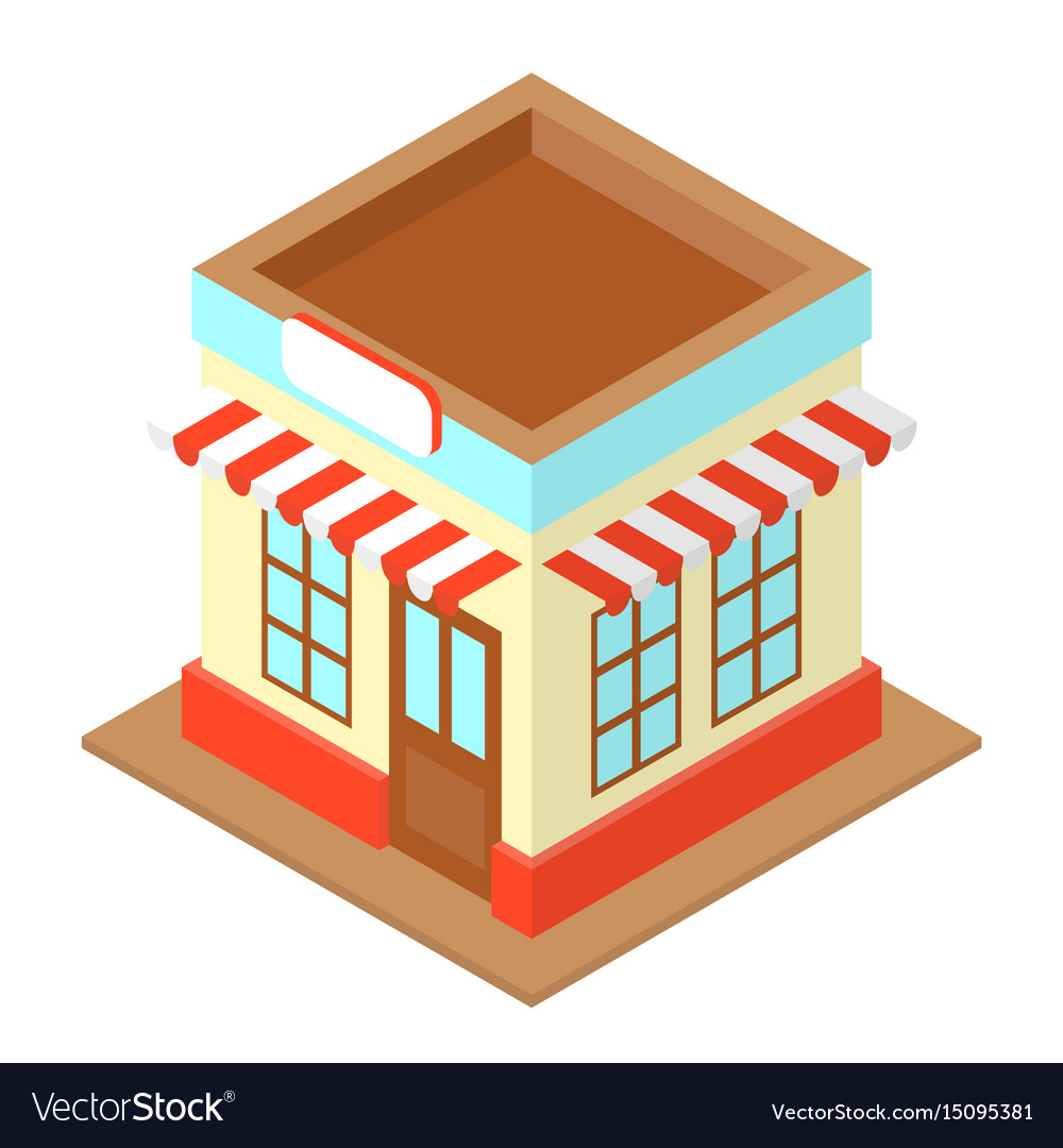 Shop isometric with sign vector image