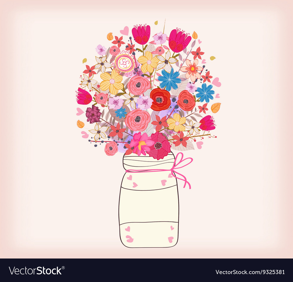 Watercolor images of flowers in vases