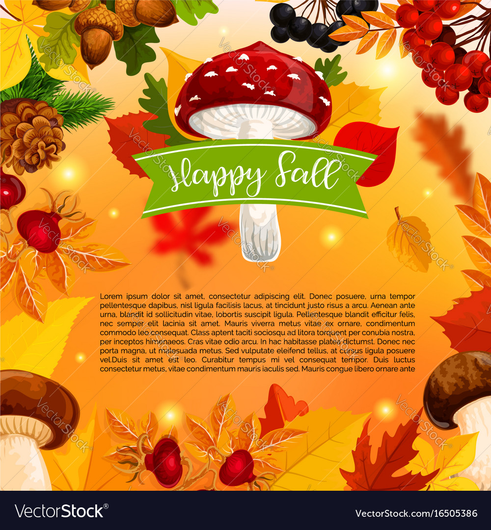 Autumn happy fall mushroom and leaf poster