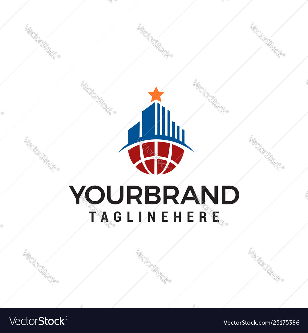 Building with star on top logo design concept