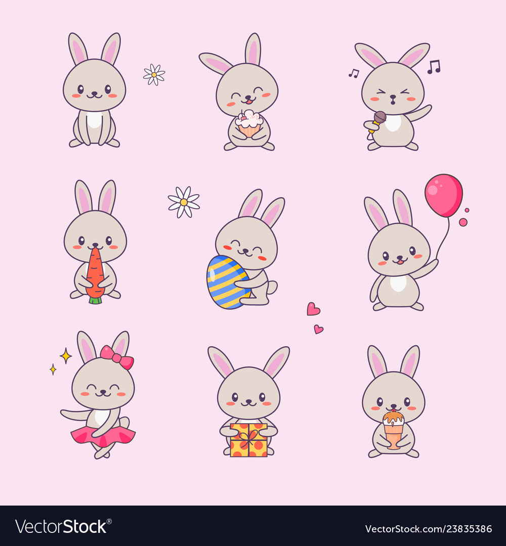 Cute bunny kawaii character sticker set vector