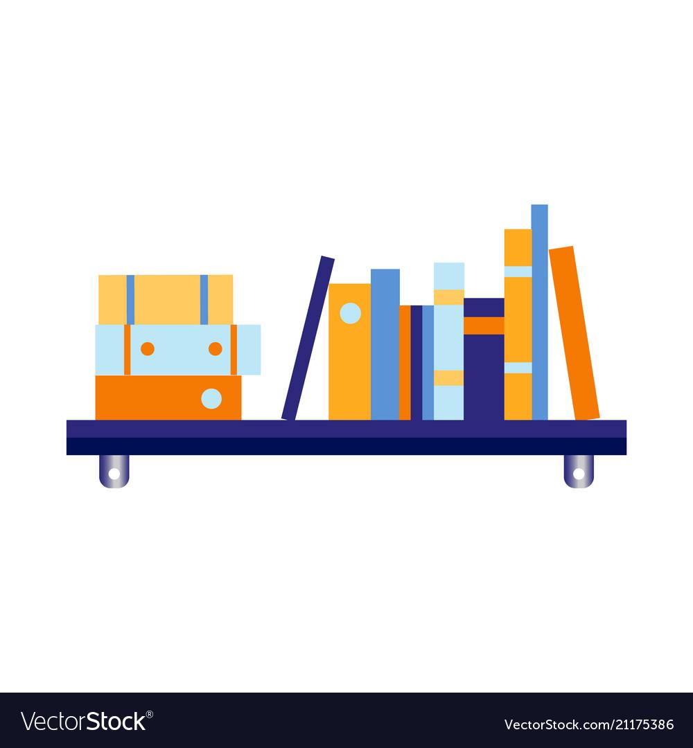 Flat blue wall bookshelf with documents