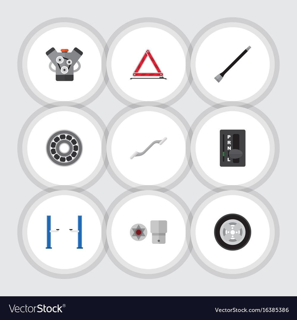 Flat icon auto set of turnscrew auto jack