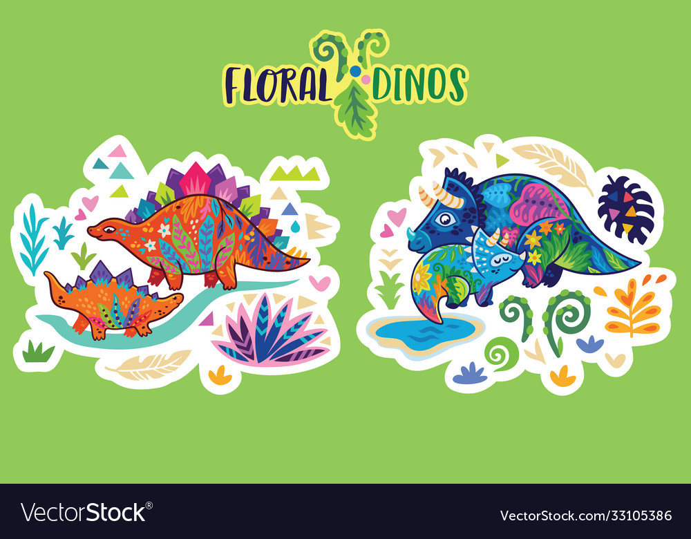 Floral dinosaurs bright sticker set