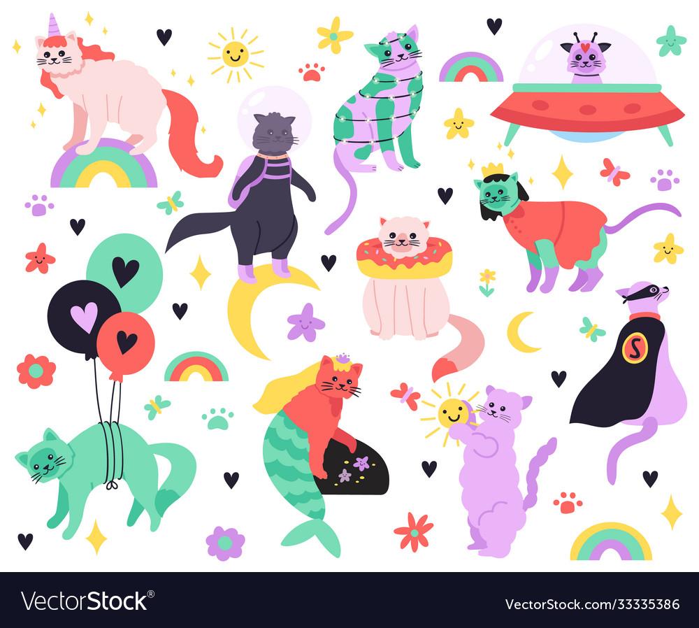 Funny cartoon cats kitty mermaid unicorn
