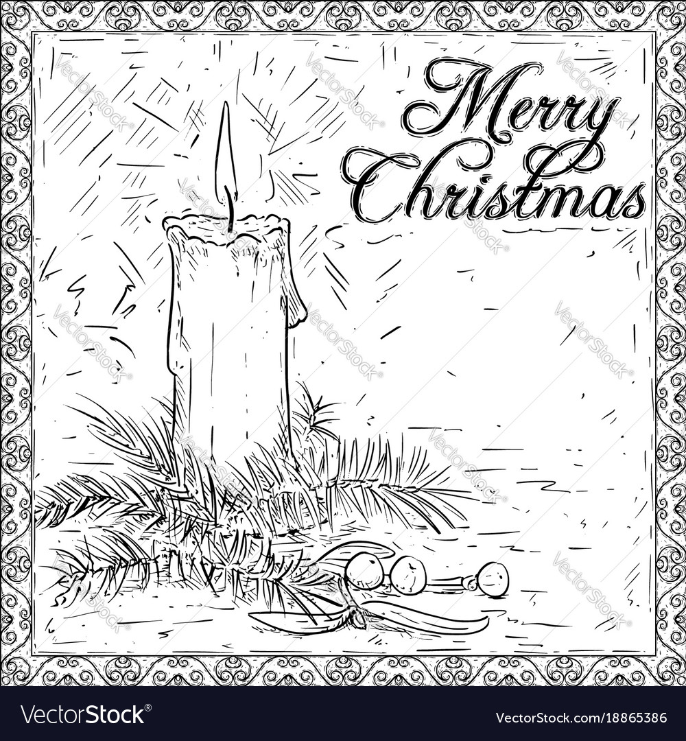 Christmas Card Drawing.Hand Drawing Christmas Candle Card Design