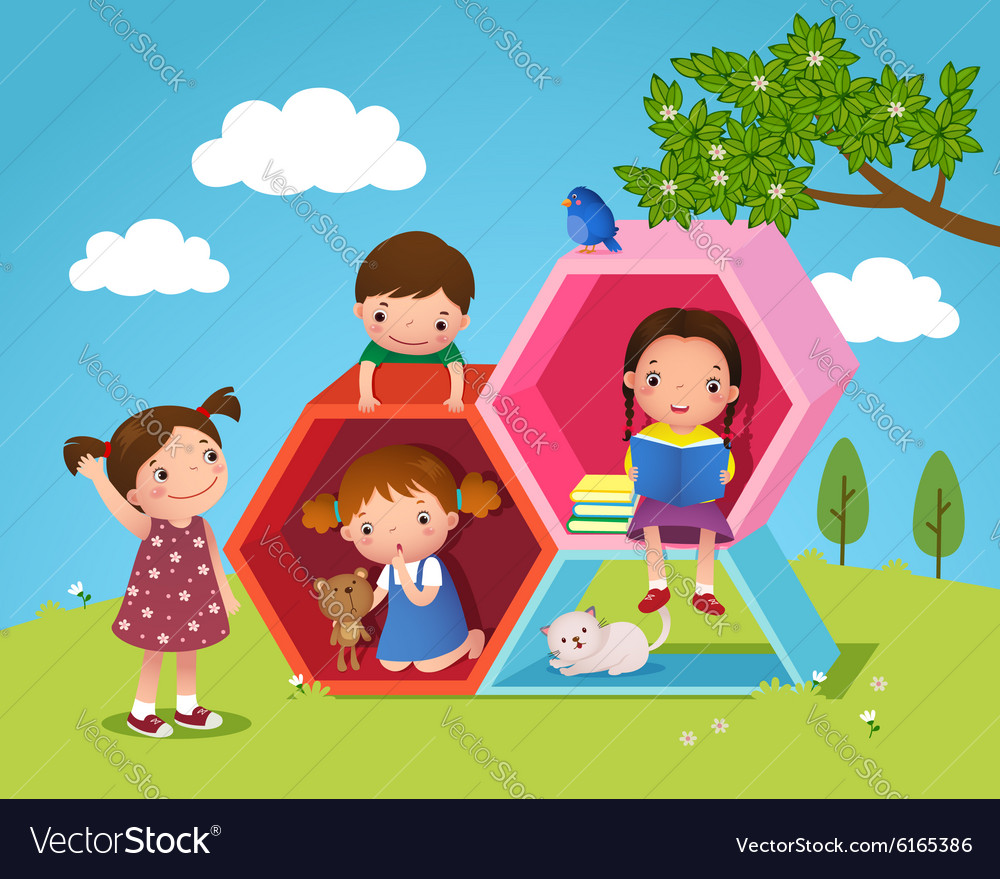 Kids playing and reading with hexagon shaped in