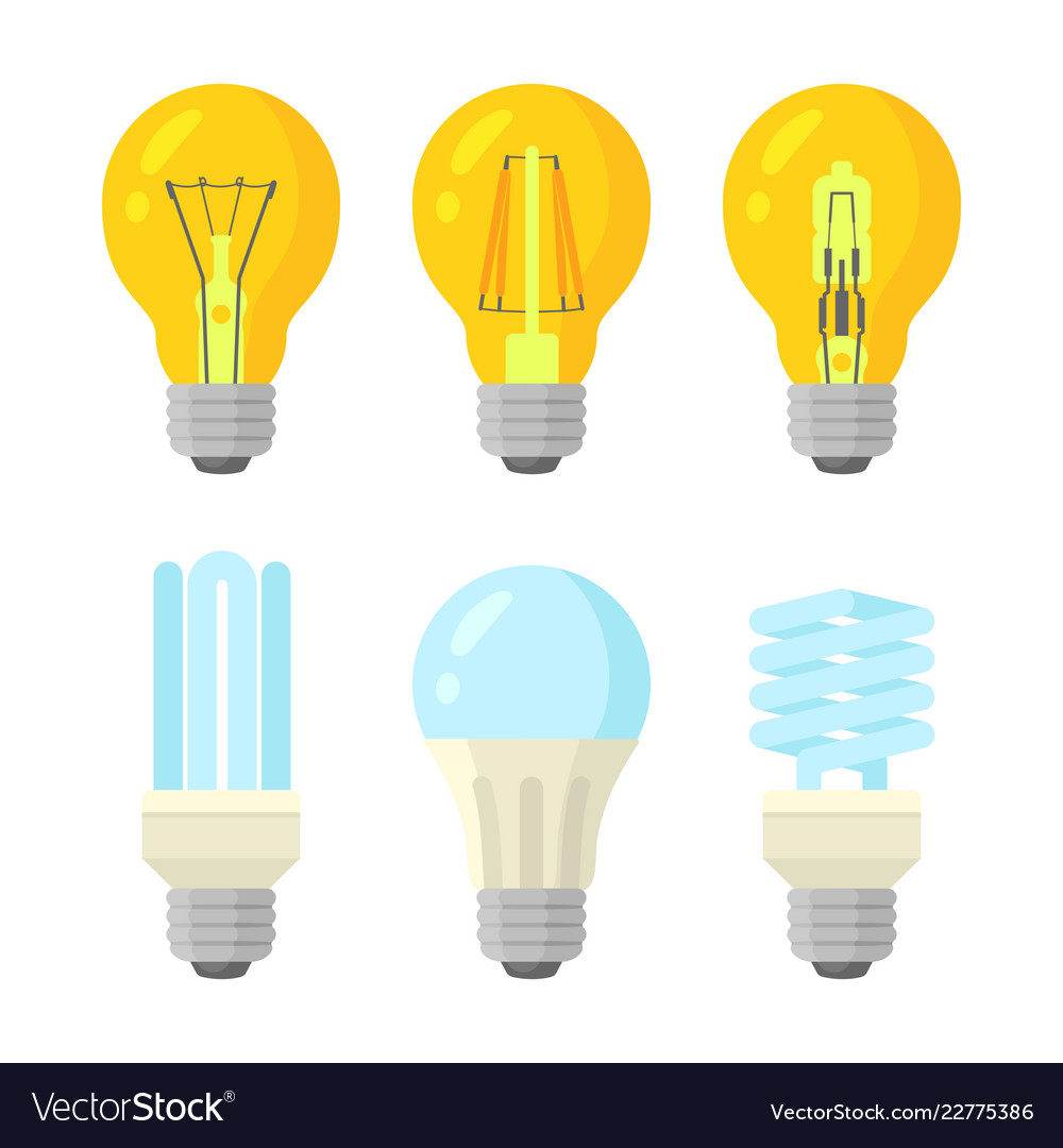 Light bulbs flat style set