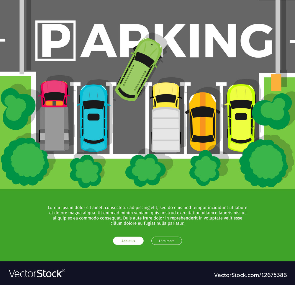 Parking Top View Web Banner in Flat Design