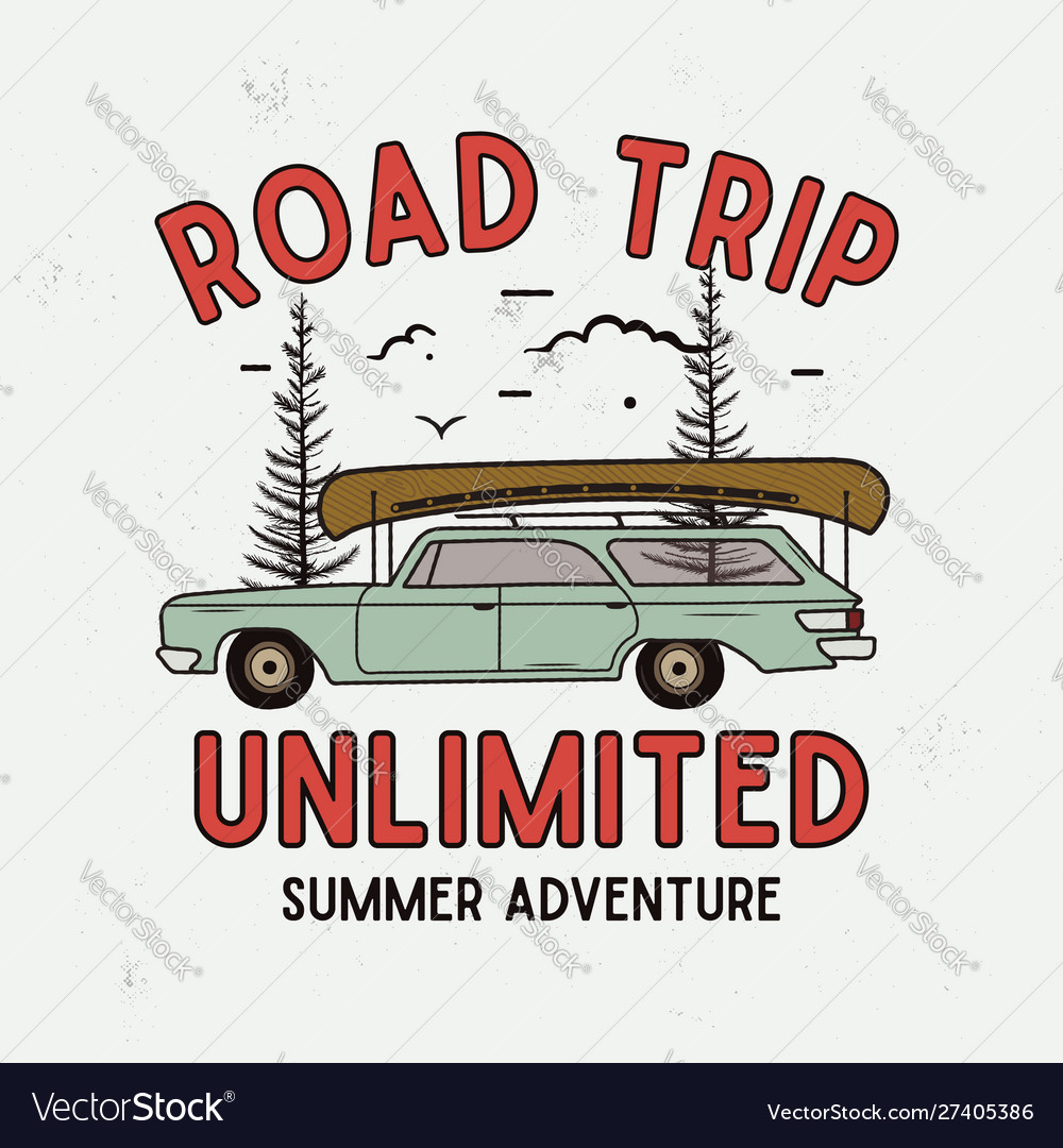 Road trip summer adventure graphic for t-shirt