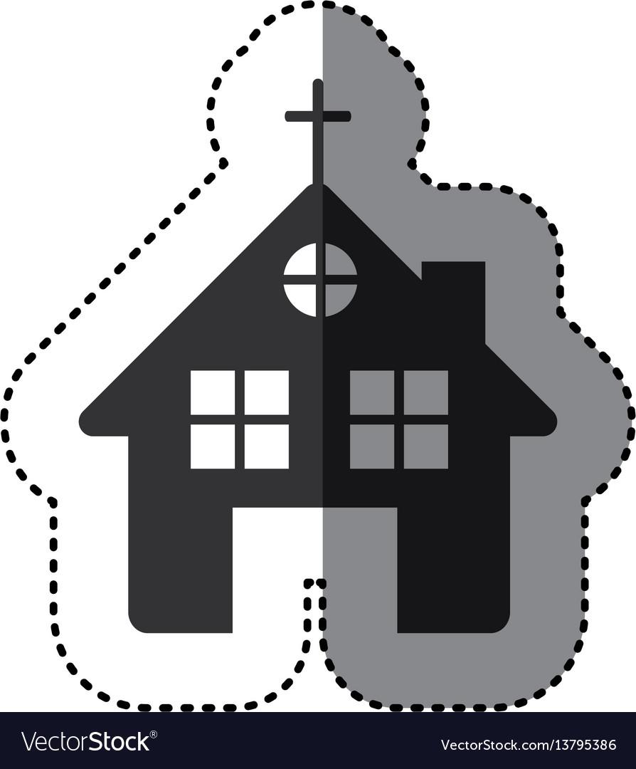 Sticker of black silhouette of church in white