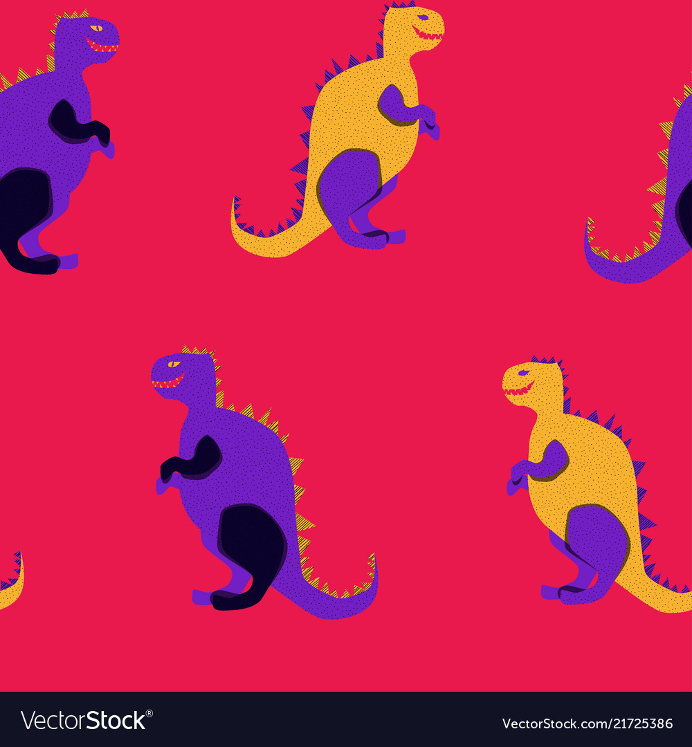 Vibrant dinosaurs on the red background