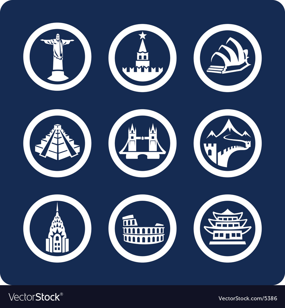 World famous places icons
