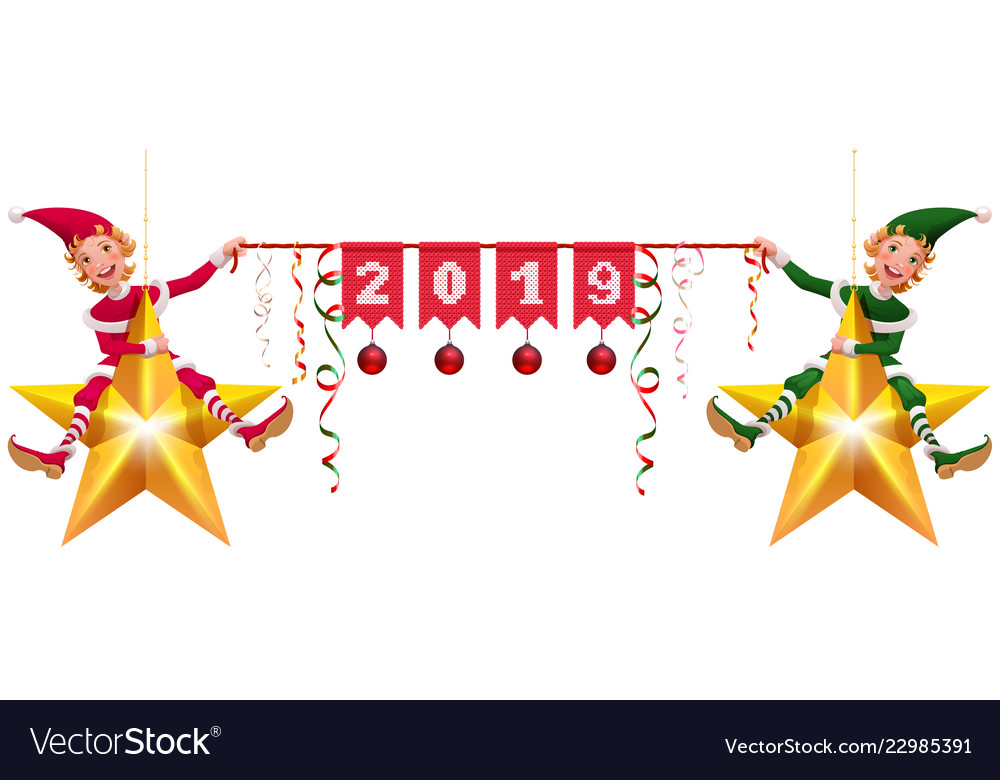 2019 year christmas decoration two elves holding