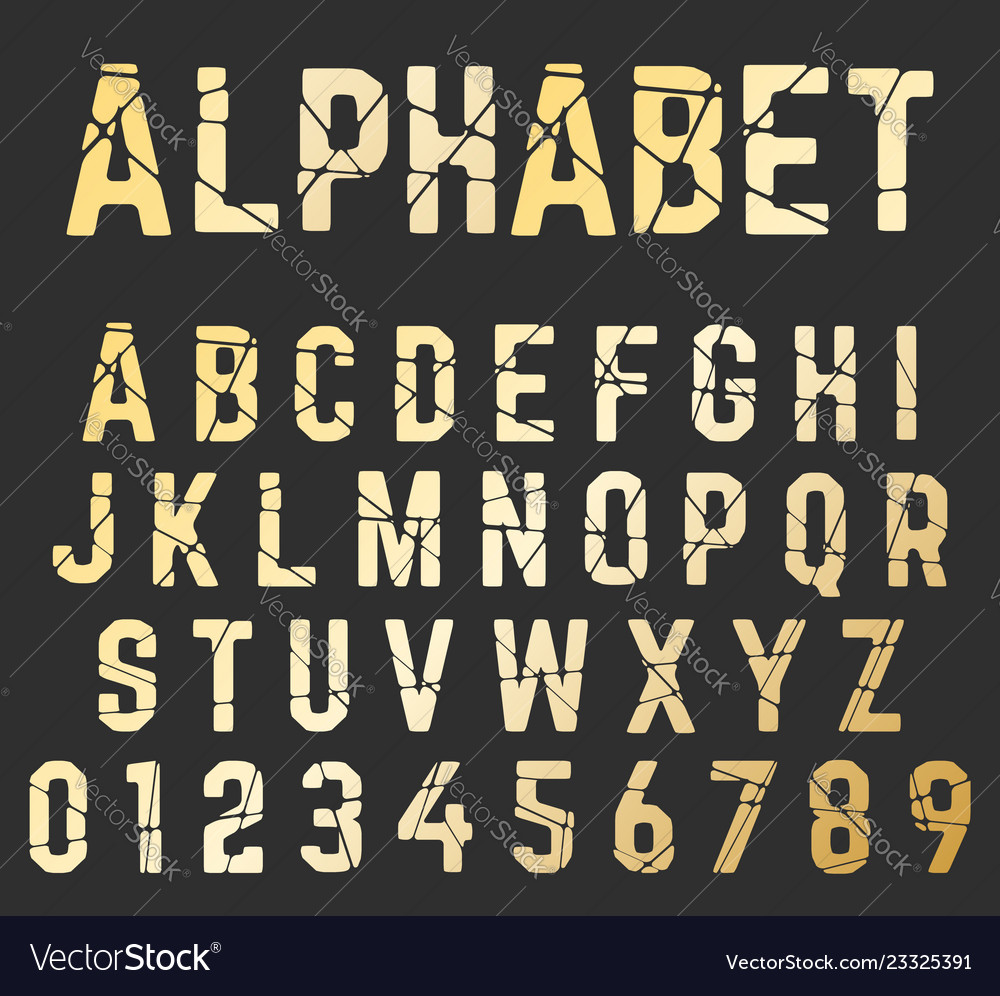 Broken font alphabet set of letters and numbers