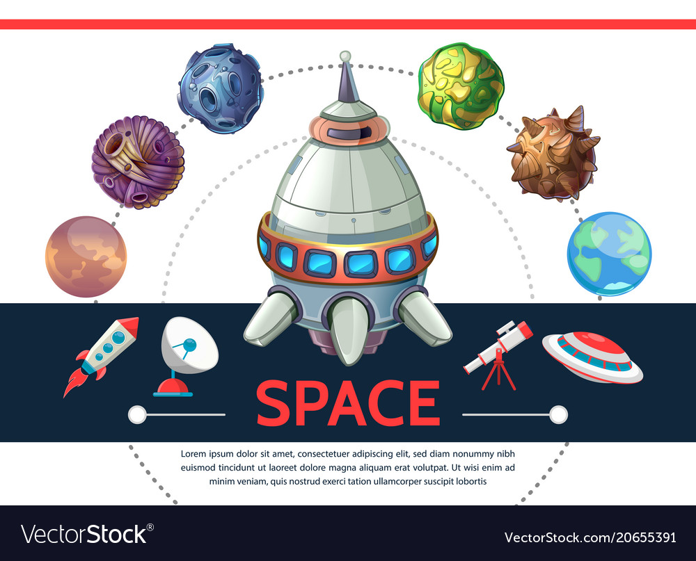 Cartoon colorful space template
