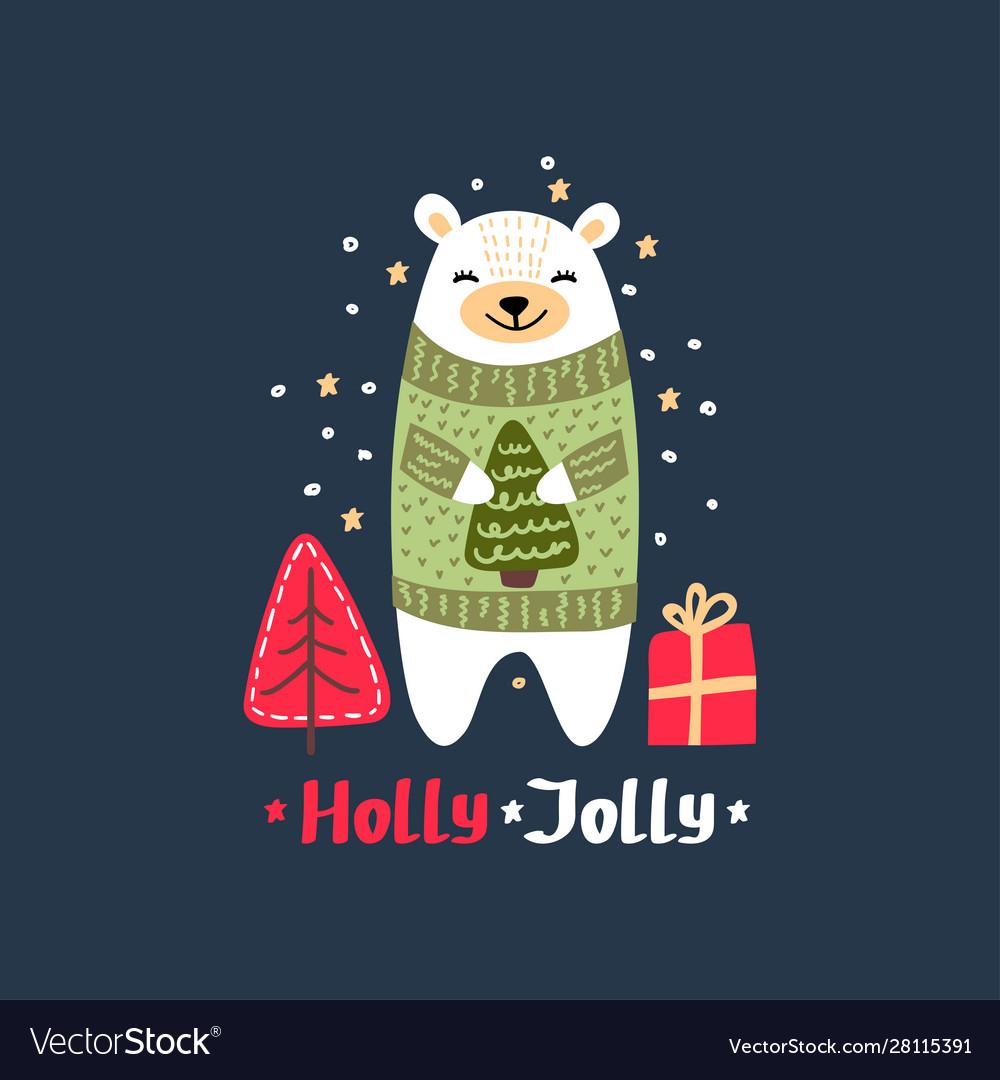 Christmas card with cute polar bear