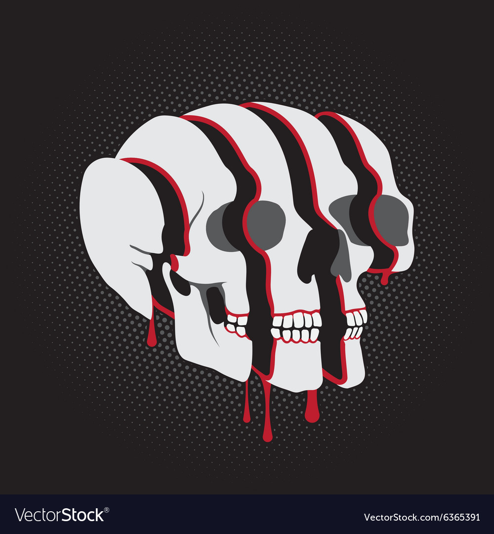 Color Skull in 3D Glasses