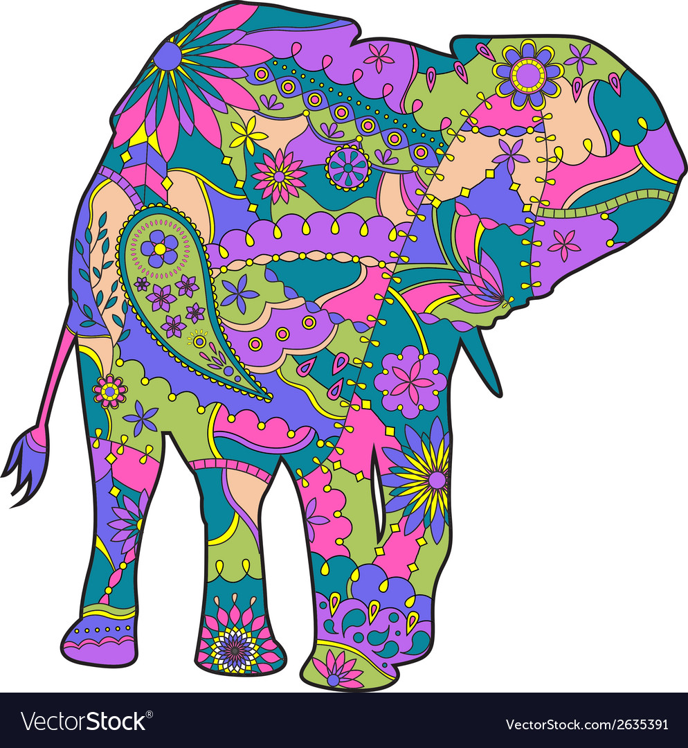 - Colorful Elephant Silhouette Royalty Free Vector Image