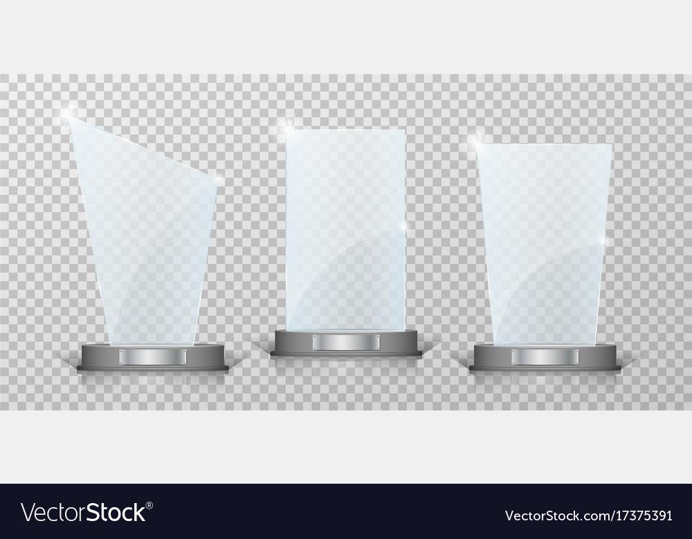 Empty crystal glass trophy awards set glossy