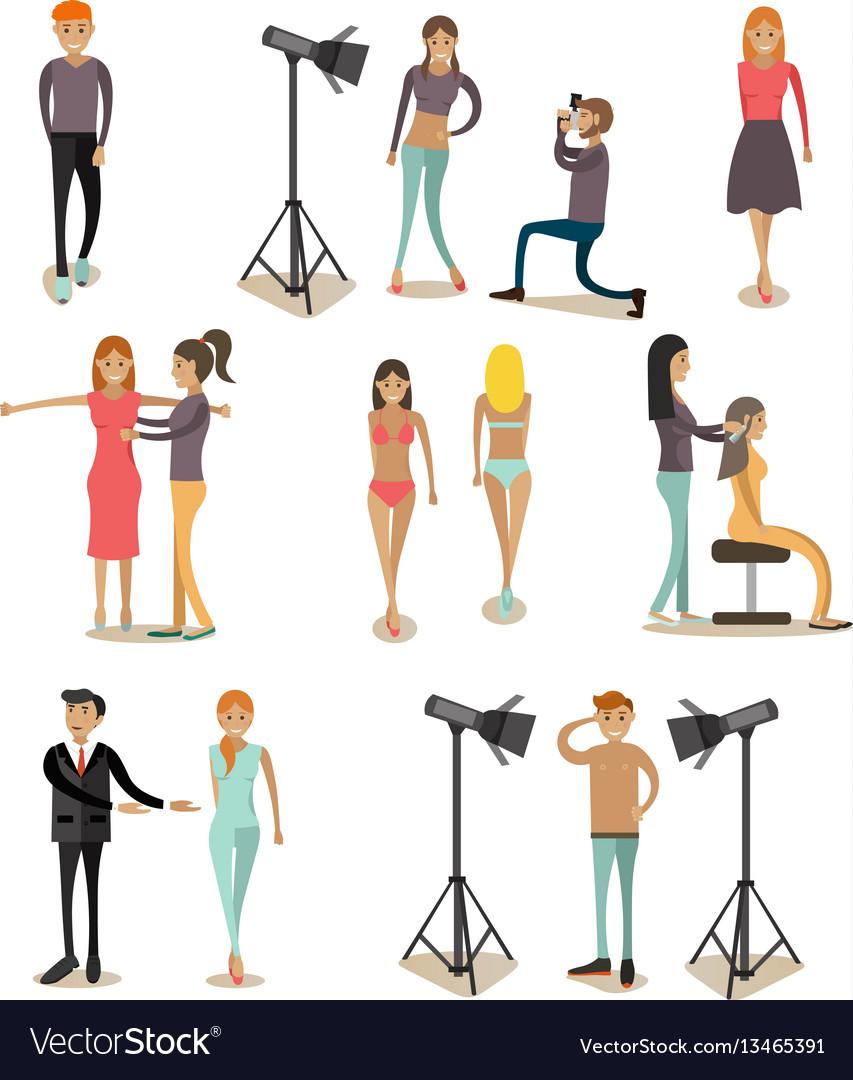Flat icons set of fashion model people