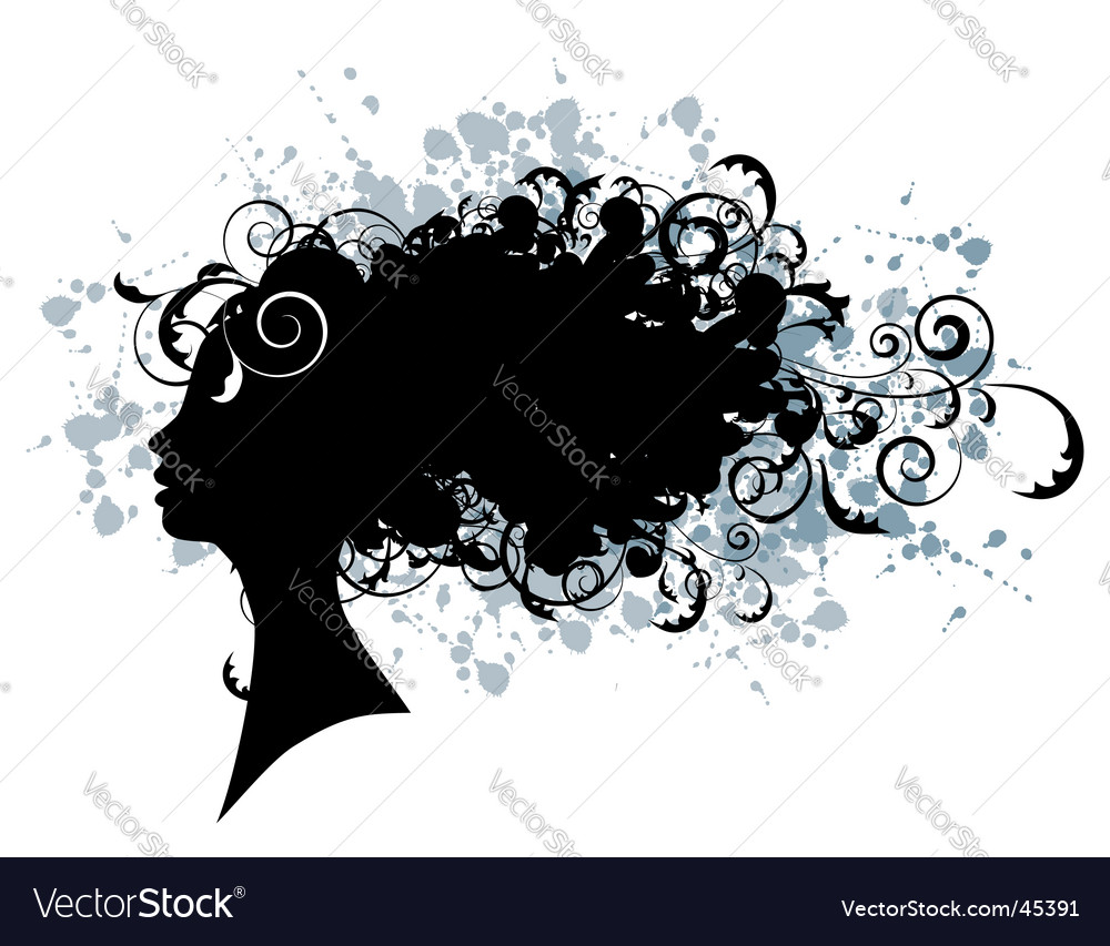 Floral hairstyle woman face silhouette
