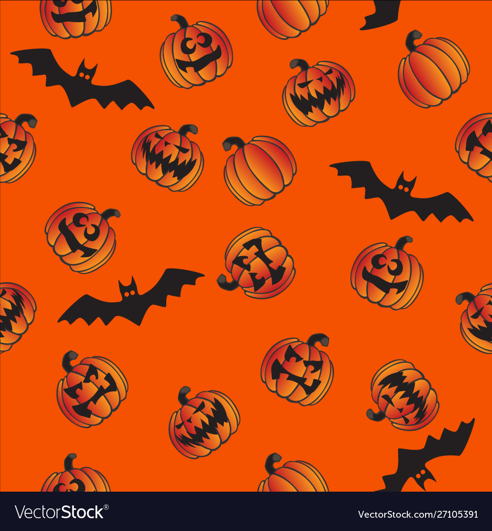 Halloween pumpkins bats seamless repeating pattern