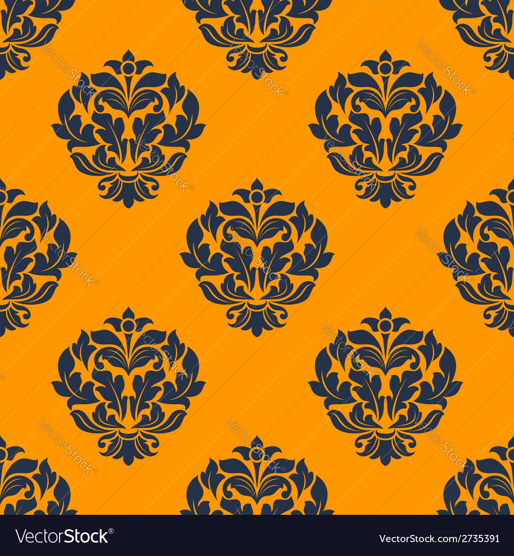 Indigo colored floral seamless pattern vector image