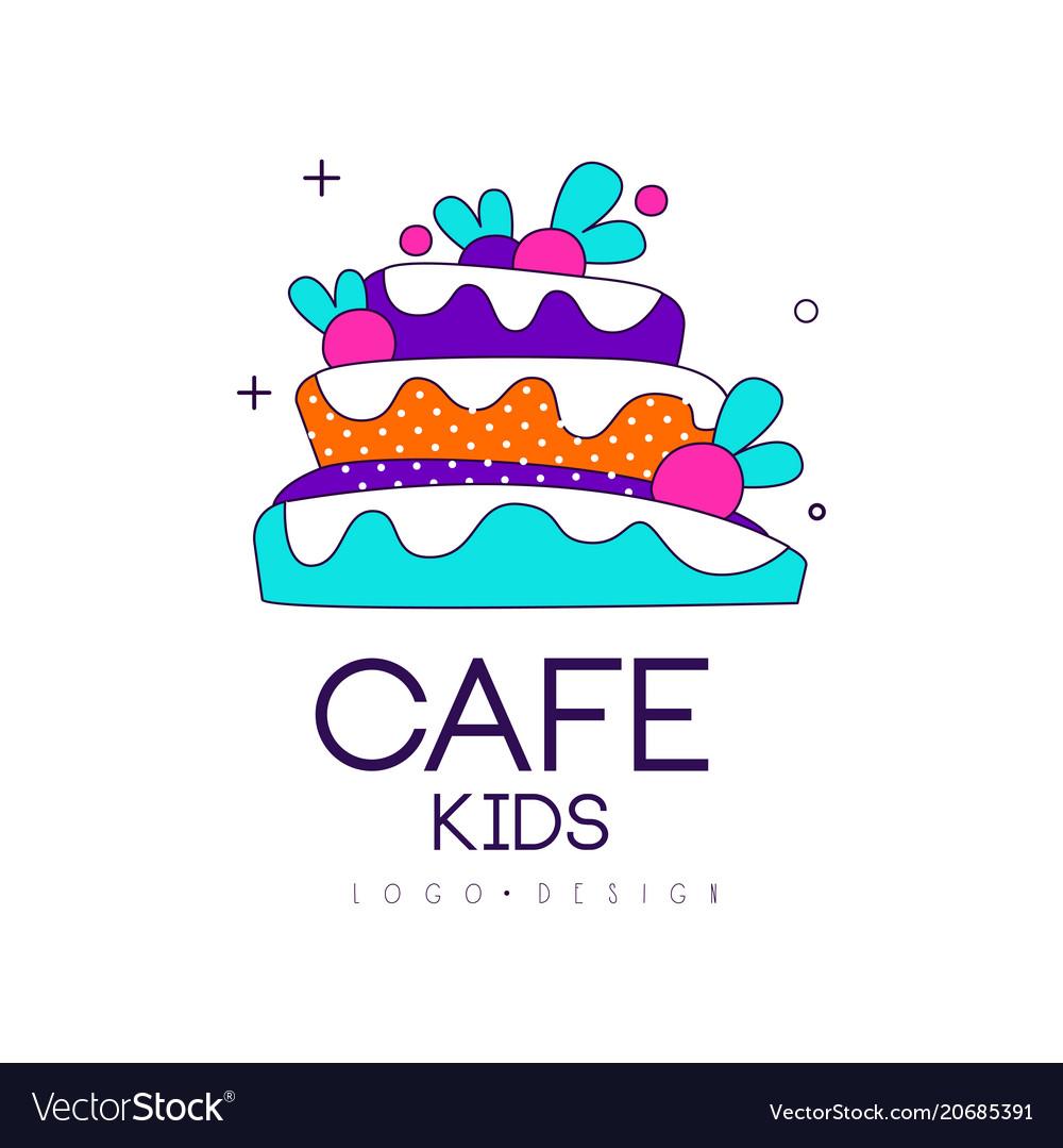 Kids cafe logo design bright badge with cake