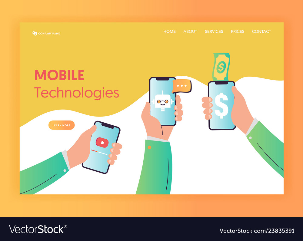 Mobile app technologies landing page template