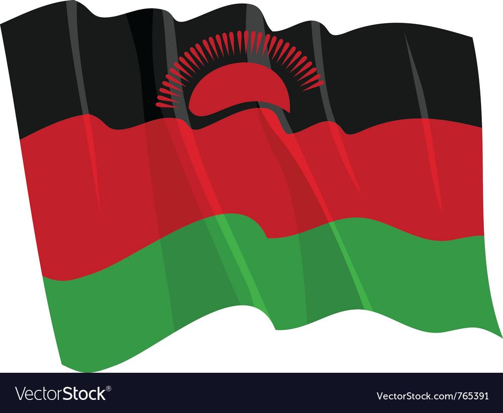 Political waving flag of malawi vector image