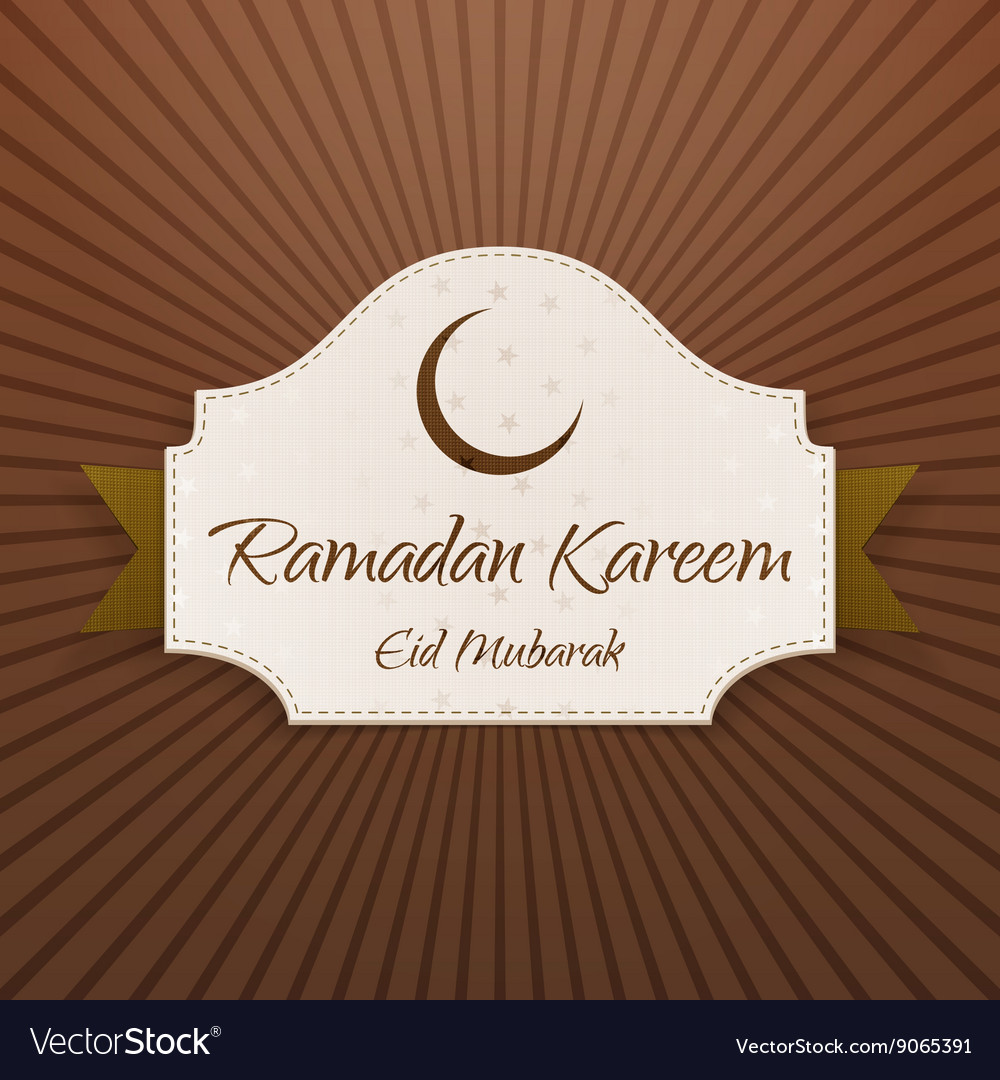 Ramadan Kareem Eid Mubarak Card With Ribbon Vector Image
