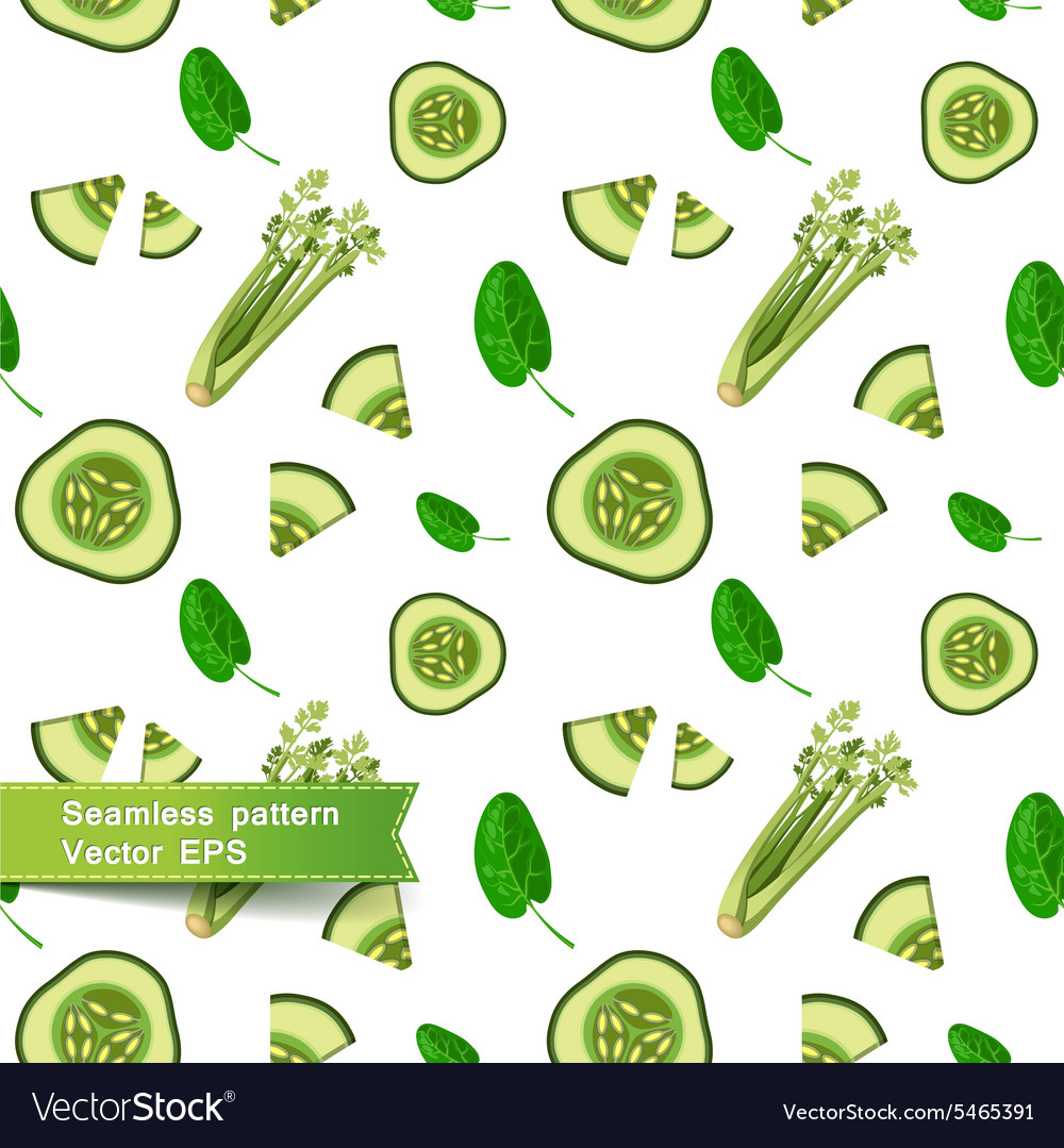 Seamless pattern with slices of vegetables Cut