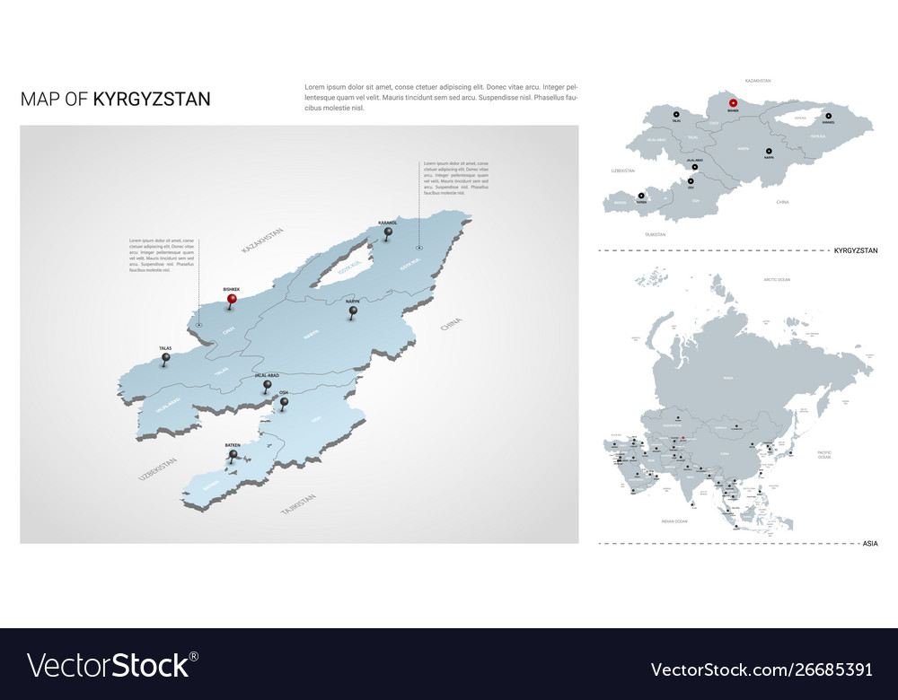 Map Of Asia Kyrgyzstan.Set Kyrgyzstan Country Isometric 3d Map