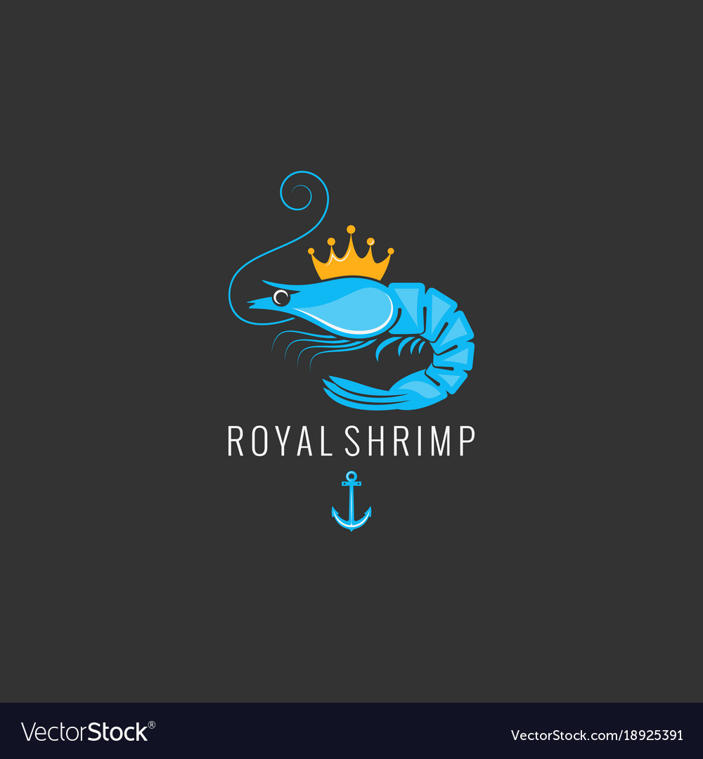 Shrimp logo on black background