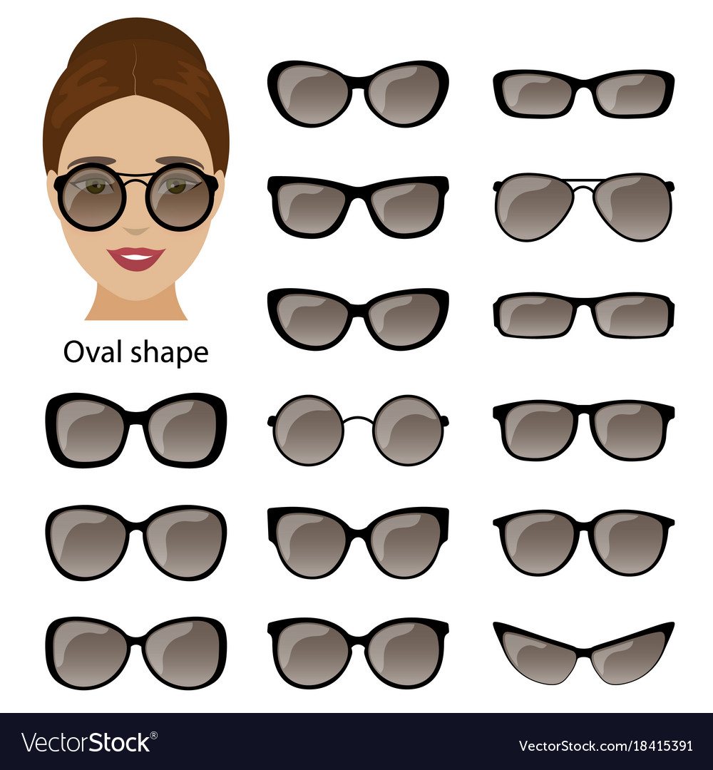 Spectacle frames and oval face Royalty Free Vector Image
