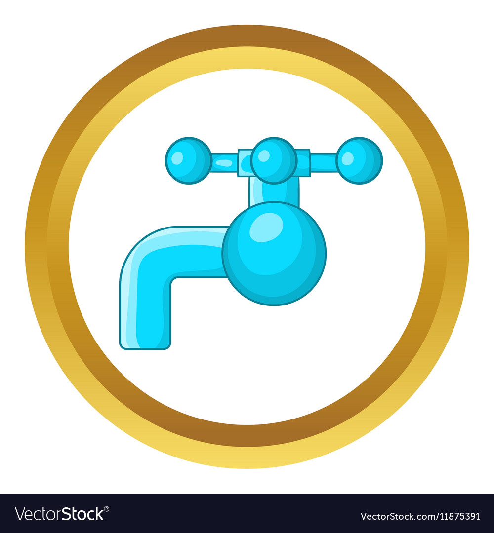 Water tap with knob icon Royalty Free Vector Image